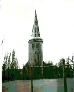 Krypel - kościół ewangelicki, zburzony w 1970 r. (ze zbiorów Izby Pamięci przy SP Gębice)